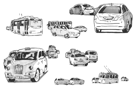 sketches of machines moving in different directions Ilustração