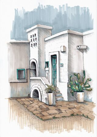 Houses on the island of Santorini. Urban sketching by markers. Banco de Imagens