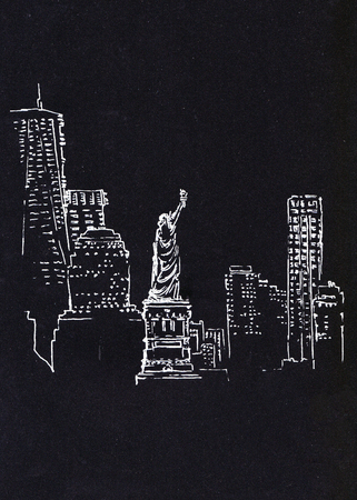 Sketch miniature. Horizon of New York on black paper.