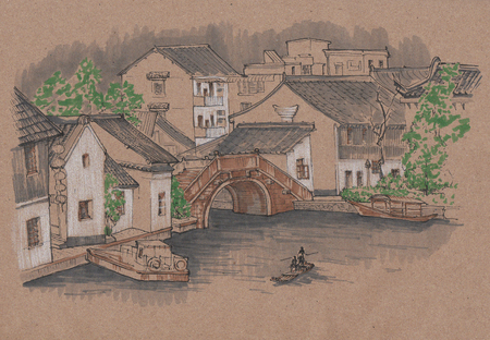Chinese village. Houses, bridge, boats on kraft paper. Urban sketch made by markers.