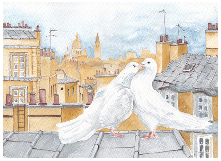 A pair of pigeons on the roof in Paris. Watercolor.