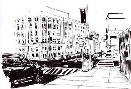Street New York with road and cars. Sketch in ink.