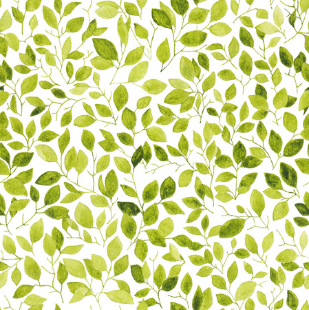 Spring twigs with leaves. Seamless pattern. Watercolor. Фото со стока