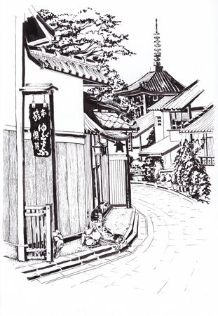 The street of the Japanese town. The road with old Japanese houses. Two cats near the house. In the distance, the temple can be seen. Sketch in ink.