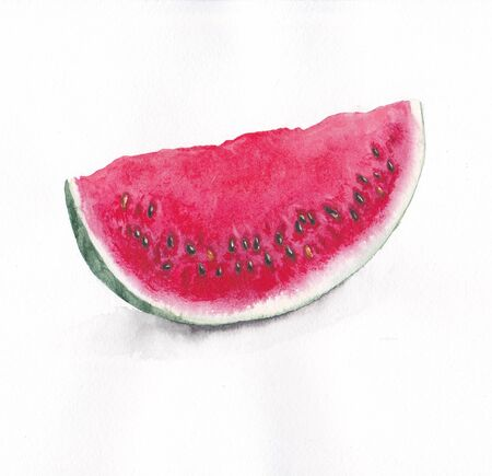 A slice of ripe watermelon on a white background. Watercolor painting.