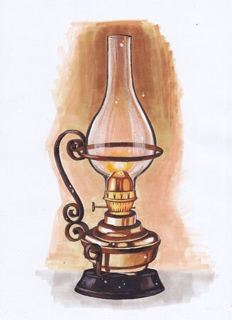 A burning kerosene lamp made of copper. Sketch the markers.