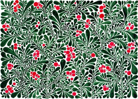 Stylized bearberry. Ornate background. Watercolor. Banco de Imagens