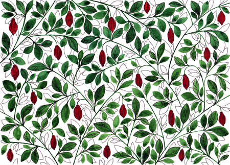 Pattern with cocoa branches. Stylized fruits and branches. Sketch with watercolor and ink. Banco de Imagens