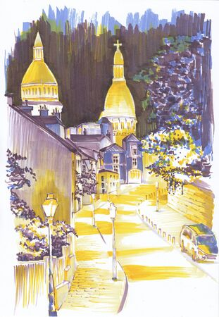 Evening. Europe. Illuminated street. Sketch the markers. Banco de Imagens