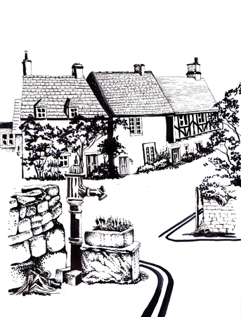 Old English houses. Black and white sketch. Banco de Imagens