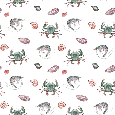 Watercolor marine life. Shrimp, crab, seashells on white background. Seamless pattern.