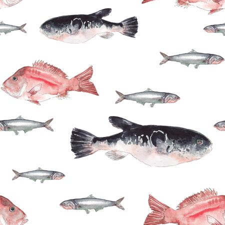 Watercolor fish. Fugue, red perch, anchovy on white background. Seamless pattern.