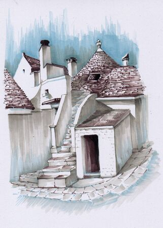 Typical buildings of the city of Alberobello. Ancient Italian trulli. Sketch the markers. Banco de Imagens
