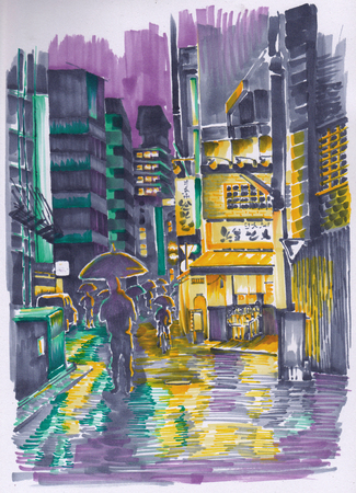 Evening street of Japan. People hurrying home, shops, illumination. Sketch.