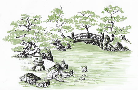 Japanese garden with a bridge and a stone lantern near the water. Sketch.
