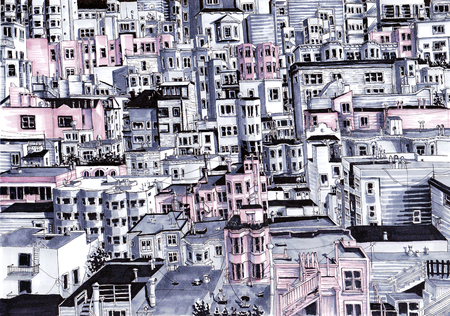 Urban Sketch. Horizon with many houses.
