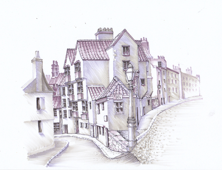 An ancient street of England. Urban Sketch. Banco de Imagens