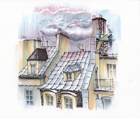 Clouds in the sunset over the roofs of Paris. Sketch the markers.