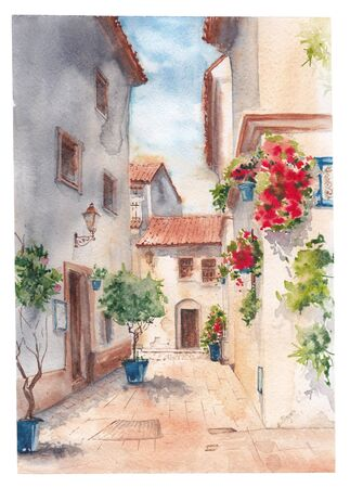 Sunny Spain. Houses with flowers on a narrow street. Watercolor. Banco de Imagens