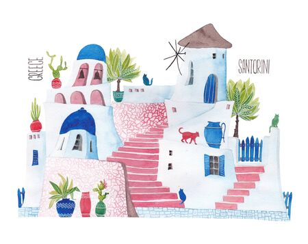 Santorini. The street is stylized as a childs illustration. Banco de Imagens