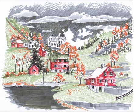 Houses and hills near the Norwegian fjord. Sketch the markers.