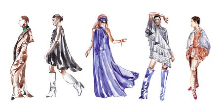 Models in clothes of different styles. 5 girls on a white background. Sketch with watercolor.