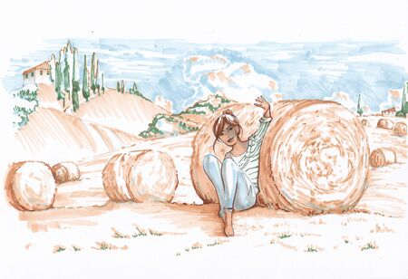 A girl in the sunny fields of Tuscany. Sketch the markers. Banco de Imagens