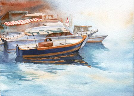 Boats at the pier. Watercolor painting Banco de Imagens