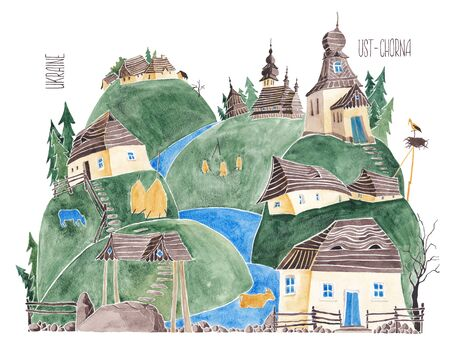 Ukrainian Carpathians. Stylized village. An illustration of a watercolor. Banco de Imagens