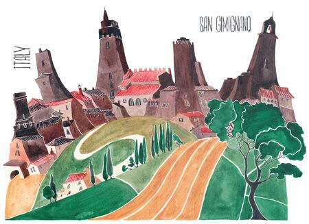 Hills of Tuscany. Stylized nature and architecture of Italy. An illustration of a watercolor.