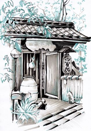 Japanese architecture. Urban sketching.
