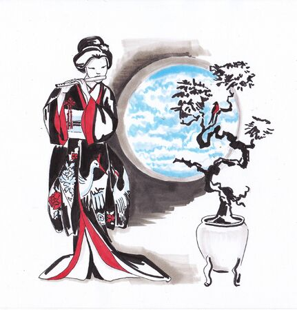 Girl in Japanese kimono playing the flute. Sketch markers.