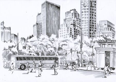 NY. Road with pedestrians. Urban sketch with gray markers.