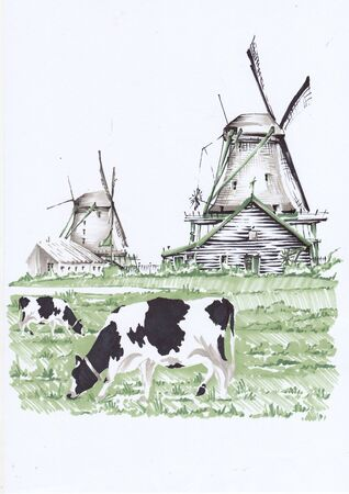 Grazing cows. Landscape with windmills. Sketch markers.
