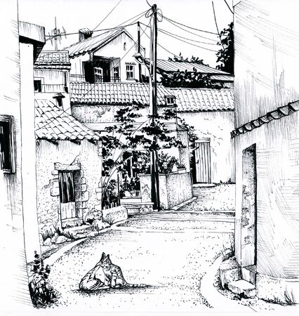 A narrow street of southern Europe. Sketch