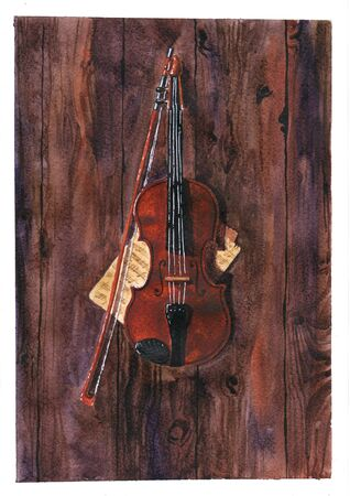 Violin and notes on wooden boards. Banco de Imagens