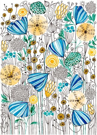 Stylized flowers. Spring Glade. Ink drawing. Banco de Imagens