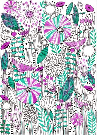 Stylized flowers. Summer glade. Ink drawing. Banco de Imagens
