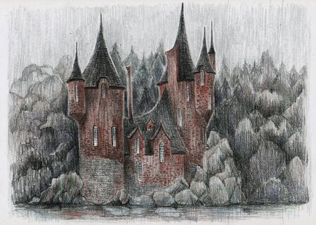 Fairy-tale house in the forest. Sketch of pencils.