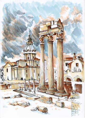 Remains of the ancient city. Sketch markers.