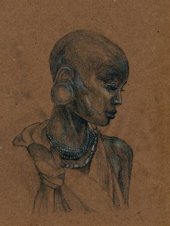 A woman from an African tribe. Sketch on craft paper.