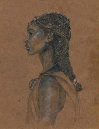 The woman of the people of Amhara. Sketch on craft paper.