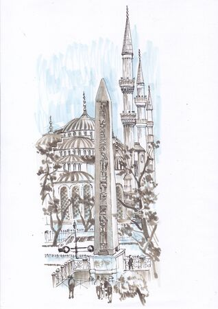 City sketch. Egyptian obelisk near the mosque.