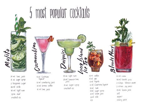 Popular cocktails. Food sketch Markers.