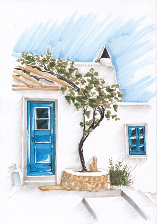 Entrance to the Mediterranean housing. Vineyard and blue door.