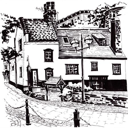 English pub. Black and white sketch.