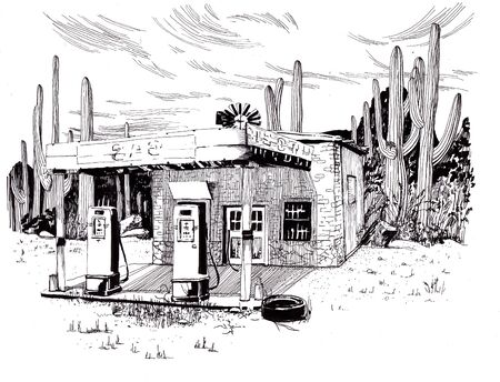 Abandoned refueling in the desert. Sketch ink.