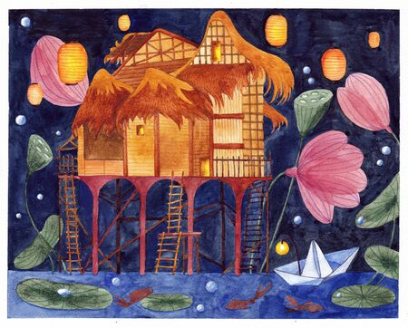 Night landscape. House on the water in the oriental style. Watercolor illustration.