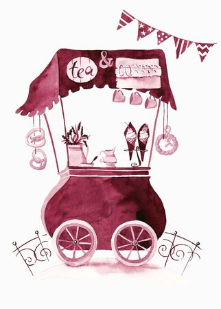 Selling food. Trolley on a white background. Watercolor.