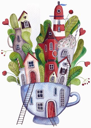Fantasy city. Houses in the cup. Watercolor.
